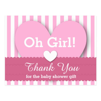 BABY SHOWER THANK YOU Hearts Stripes V06 PINK Postcard
