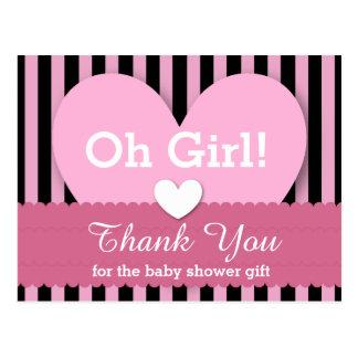 BABY SHOWER THANK YOU Hearts Stripes V06B PINK Postcard