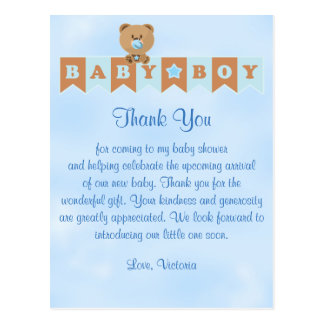 Baby Shower Thank You It's a Boy Baby Boy Teddy Be Postcard