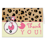 Baby Shower Thank You - Leopard Print & Diaper Pin Card