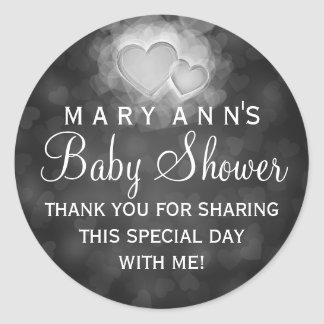 Baby Shower Thank you Modern Hearts Black Round Stickers