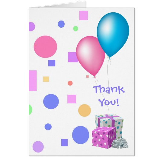 Baby Shower Thank You!/Multi-Color/Balloons+Gifts Card