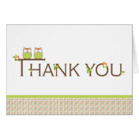 Baby Shower Thank You -  Neutral Twin Baby Owls Greeting Card