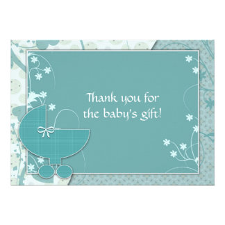 Baby Shower Thank You Notes Turquoise Baby Buggy Personalized Invitation