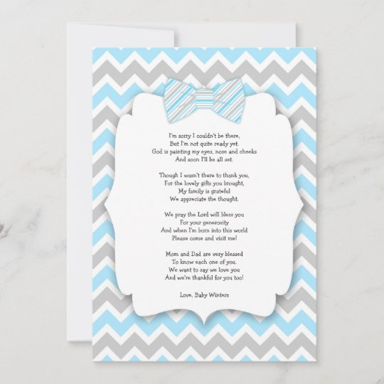 Baby Shower Thank You Notes With Poem Blue Gray Zazzle