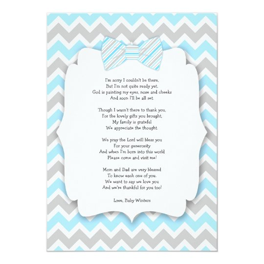 Baby shower thank you notes with poem blue gray invitation