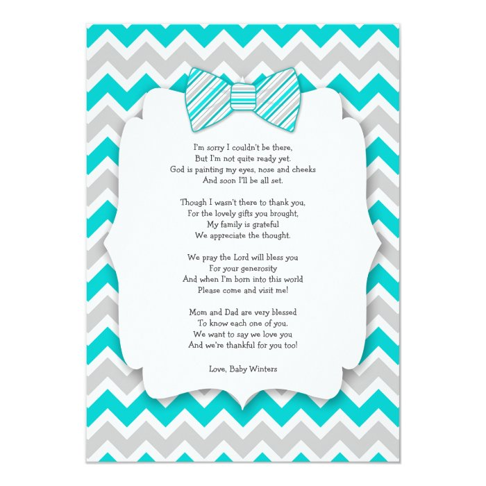 baby shower thank you notes with poem turquoise card zazzle