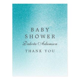 Baby Shower Thank You   Ombre Light Blue Glitter Postcard