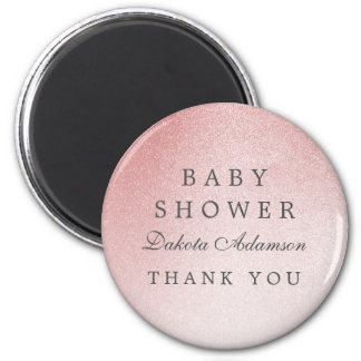 Baby Shower Thank You | Ombre Rose Gold Glitter Magnet