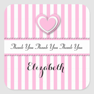 Baby Shower Thank You PINK and WHITE Hearts V019A Square Stickers