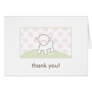 Baby Shower Thank You - Pink & Green Stationery Note Card