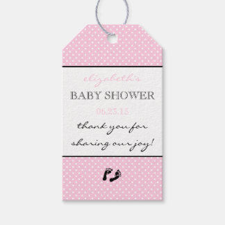 Baby Shower Thank You Pink Modern Swiss Dots Gift Tags