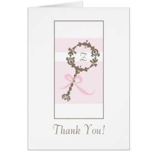 Baby Shower Thank You - Pink Rattle Greeting Cards