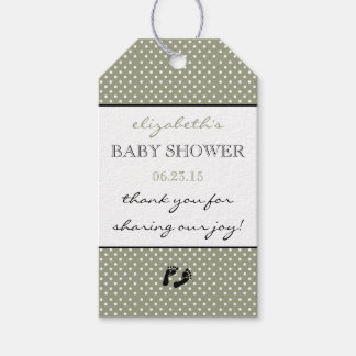 Baby Shower Thank You Sage Green Swiss Dots Gift Tags