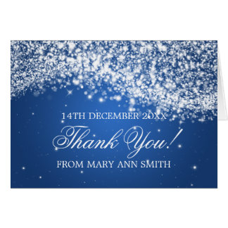 Baby Shower Thank you Sparkling Wave Blue Card