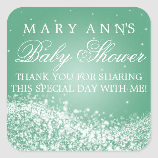 Baby Shower Thank you Sparkling Wave Mint Square Sticker