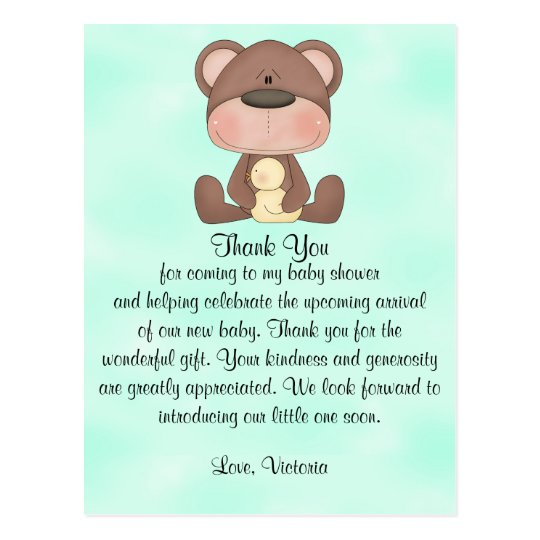 Baby Shower Thank You Teddy Bear Postcard Zazzle
