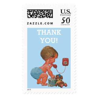 Baby Shower Thank You Vintage Baby Boy on Phone Postage
