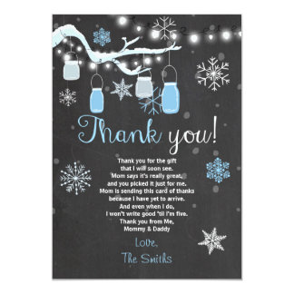 Baby Shower Thank you Winter Baby boy blue Card