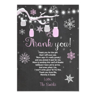 Baby Shower Thank you Winter Baby girl pink Card