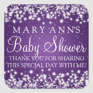 Baby Shower Thank you Winter Sparkle Purple Square Sticker