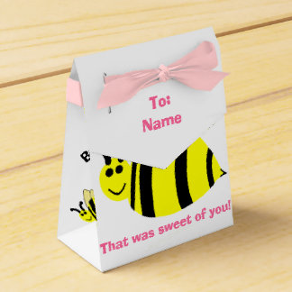 Baby Shower Thank You Yellow Bumble Bee Pink Bow Favor Box