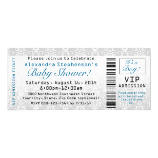 Baby Shower Ticket Invitations, Boy Card
