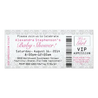 Baby Shower Ticket Invitations, Girl