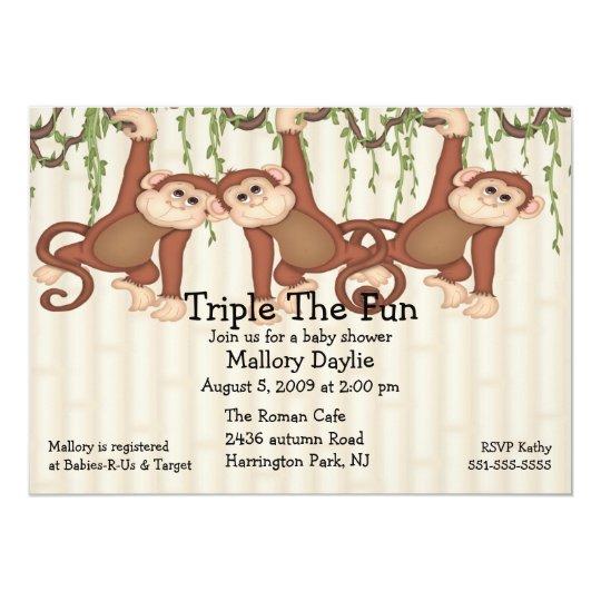 Baby Shower Triplet Monkeys Card