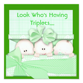 BABY SHOWER TRIPLETS INVITATION for BOY AND GIRL