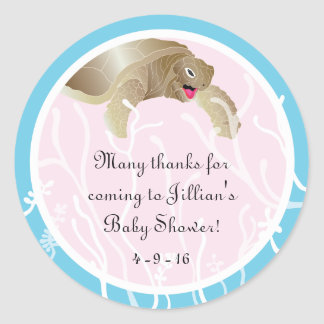 "Baby Shower ""Turtle/Pink"" Stickers 1 1/2"" or 3"""