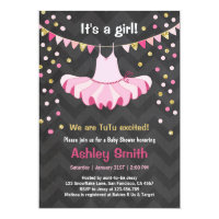 Baby Shower TuTu Pink Gold Invitation