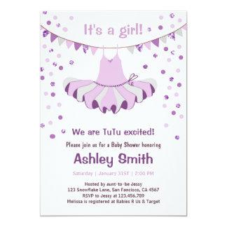 Baby Shower TuTu Purple Silver Invitation