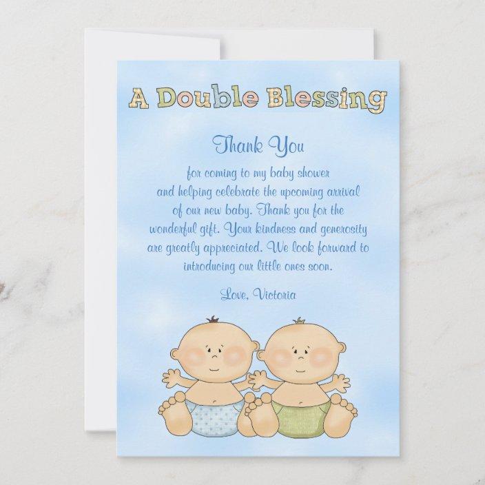 Baby Shower Twin Boys Thank You Card Zazzle Com
