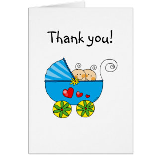 Baby shower twin boys thank you greeting card