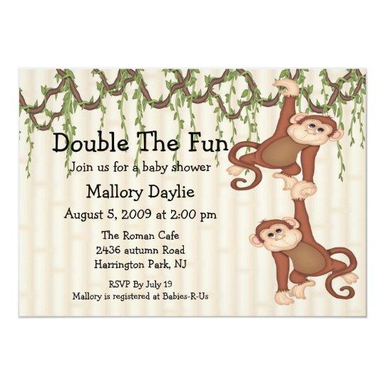 Baby Shower Twin Monkeys Card