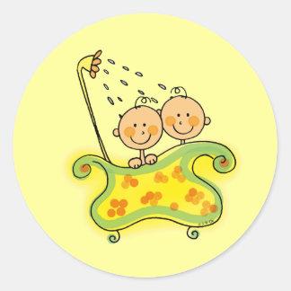 Baby shower (twins) classic round sticker