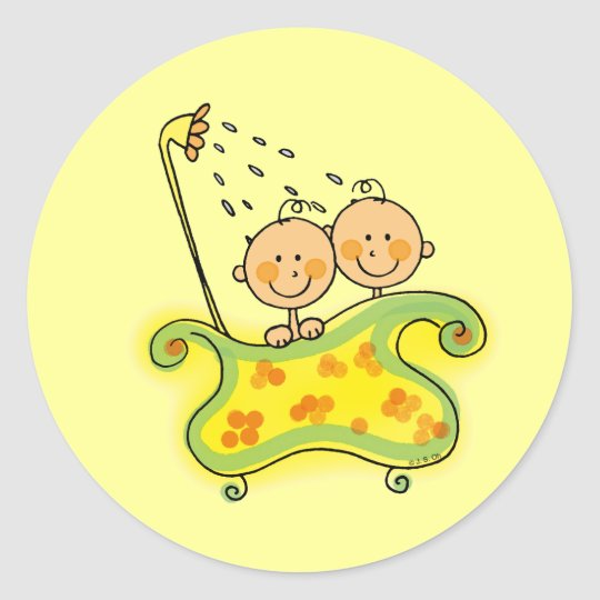 Baby shower (twins) classic round sticker