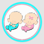 baby shower twins classic round sticker