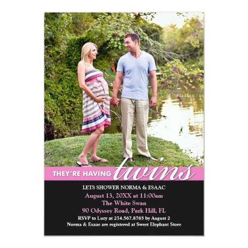 Baby Shower Twins Photo Invitation