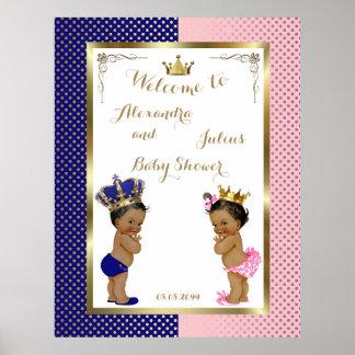 Baby Shower TWINS,pink&blue,elegant,40x52 150pp Poster