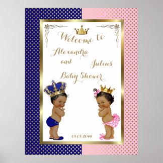 Baby Shower TWINS,pink&blue,elegant,40x52 300pp Poster