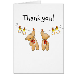 Baby shower twins thank you cards