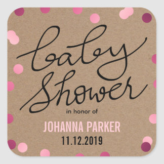 Baby Shower Typography Pink Confetti Kraft Paper Square Sticker