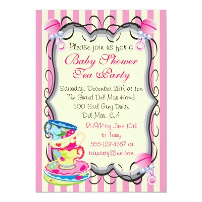 Victorian Stacked Tea Cups Party Bridal Shower Invitation