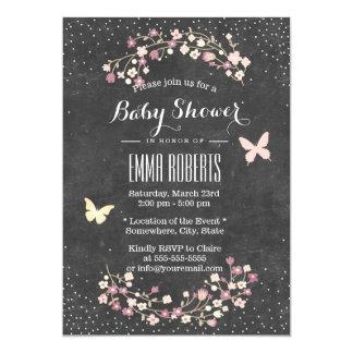 Baby Shower Vintage Chalkboard Butterfly & Flowers Card