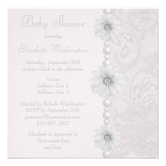 Baby Shower Vintage Paisley Lace Flowers Pearls Personalized Invitation
