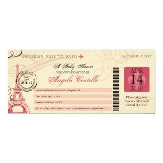 Baby Shower Vintage Paris Boarding Pass 4x9.25 Paper Invitation Card