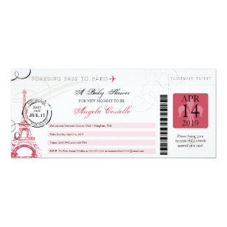Baby Shower Vintage Paris Boarding Pass Card