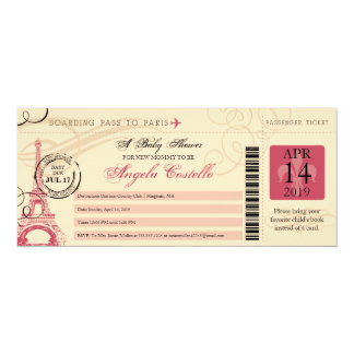"Baby Shower Vintage Paris Boarding Pass 4"" X 9.25"" Invitation Card"